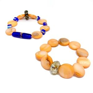 2 Bracelets Set Orange Blue Shell Beaded Stretch